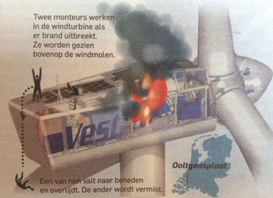 Lethal wind turbine accident in the Netherlands - A Vestas turbine
