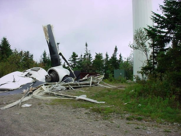 Destroyed wind turbine