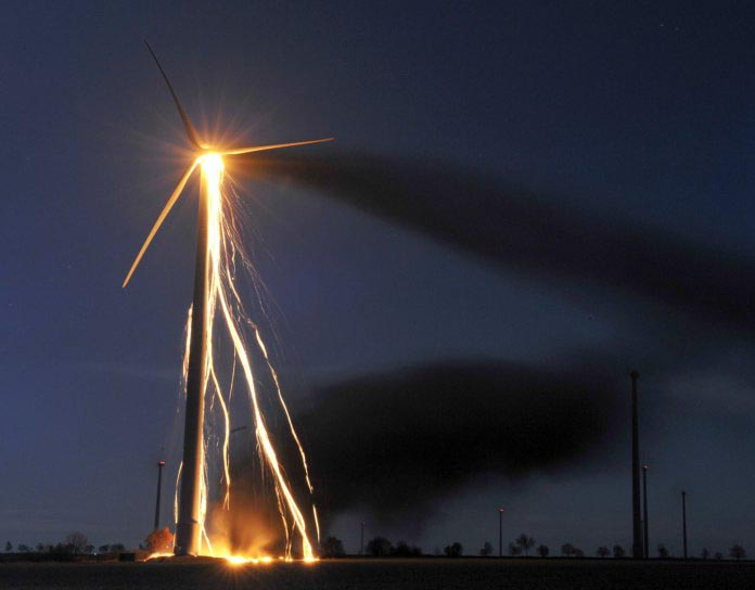 Wind Turbine on fire in Germany